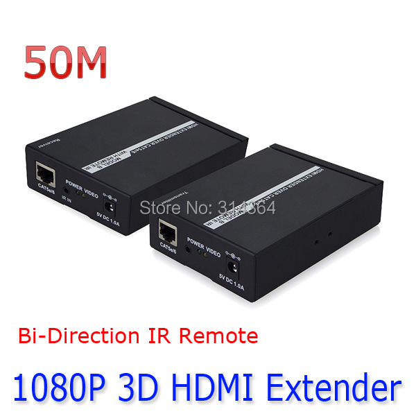 ФОТО 50M 720P/5pcs/lot 1080P HDMI Extender Over Single Cat5e/cat6 Ethernet Cable with Remote IR Bi-direction Support 3D Free DHL