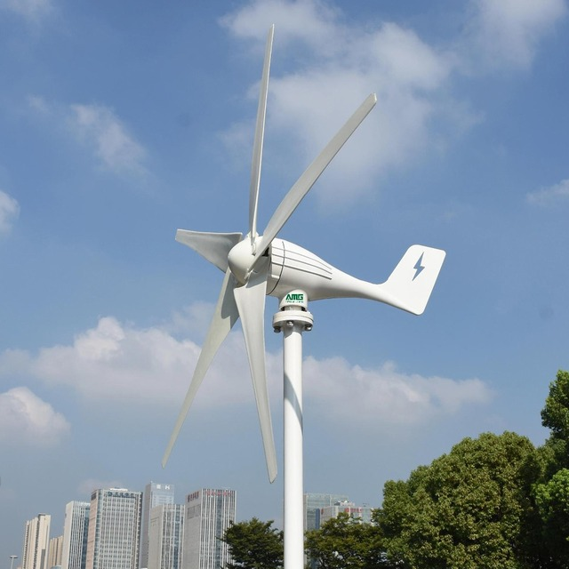 600w 24v 5 blades horizontal low wind start up wind turbine generator + PWM waterproof intelligent charge controller