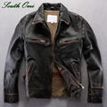 Vintage Men's Distressed Calfskin Leather Jacket Leather Skin Blazer High Quality Coat Jacket Winter Shearling Pilot