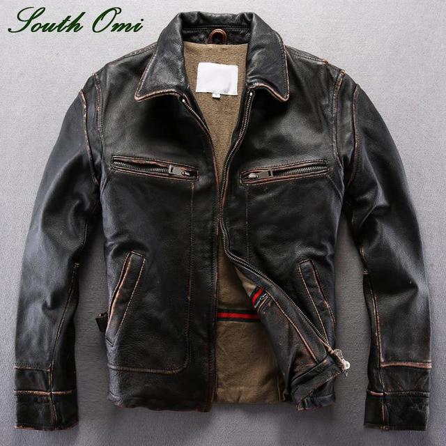 aaf4c915c27 Vintage Men s Distressed Calfskin Leather Jacket Leather Skin Blazer High  Quality Coat Jacket Winter Shearling Pilot