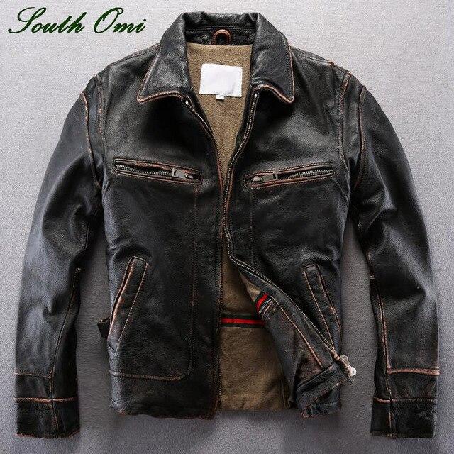 Vintage männer Distressed Kalbsleder Jacke Leder Haut Blazer Hohe Qualität Mantel  Jacke Winter Lammfell Pilot 61f1a77656