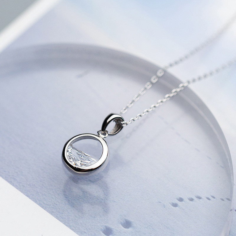 INZATT Real 925 Sterling Silver Crystal Round Minimalist Pendant Necklaces Minimalist Fine Jewelry For Women Party INZATT Real 925 Sterling Silver Crystal Round Minimalist Pendant Necklaces Minimalist Fine Jewelry For Women Party Accessories