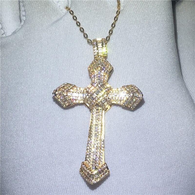 Handmade Big Cross Pendant With Necklace 925 Sterling Silver AAAAA Zircon Cz Party Wedding Pendants For Women Men Jewelry Gift