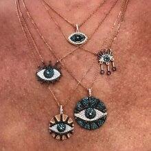 Летние модные ювелирные изделия круглые монеты Дискотека Выгравированный Турецкий Дурной глаз женский шарм розовое золото цвет правильной геометрической формы, модный ожерелье