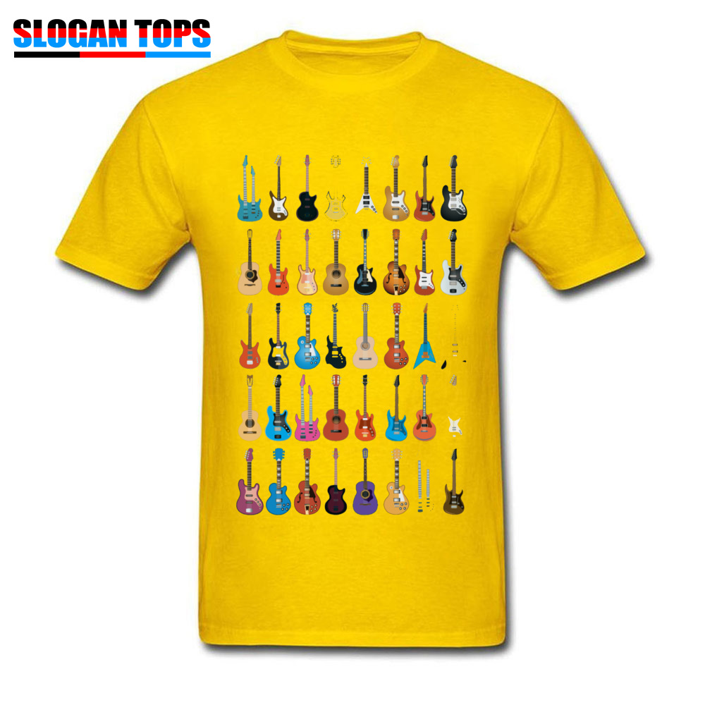 Custom 3D Printed T-shirts 2018 Summer Short Sleeve Round Neck T Shirt Cotton Fabric Men Normal T Shirts Drop Shipping Love Guitar Different Guitars Music Lover Funn yellow