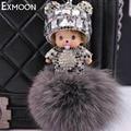 Hot Sale Cute Monchichi Key Chain Sleutelhanger Rhinestone Dolls Crystal Keyring Fluffy Ribbit Fur Ball Pom Pom Women Bag K013