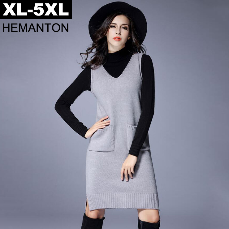 Gray Sleeveless V Neck Knitted Sweater Dress 2017 Autumn Winter Pockets Female Pullover 4XL 5XL Plus size Loose Women Sweaters