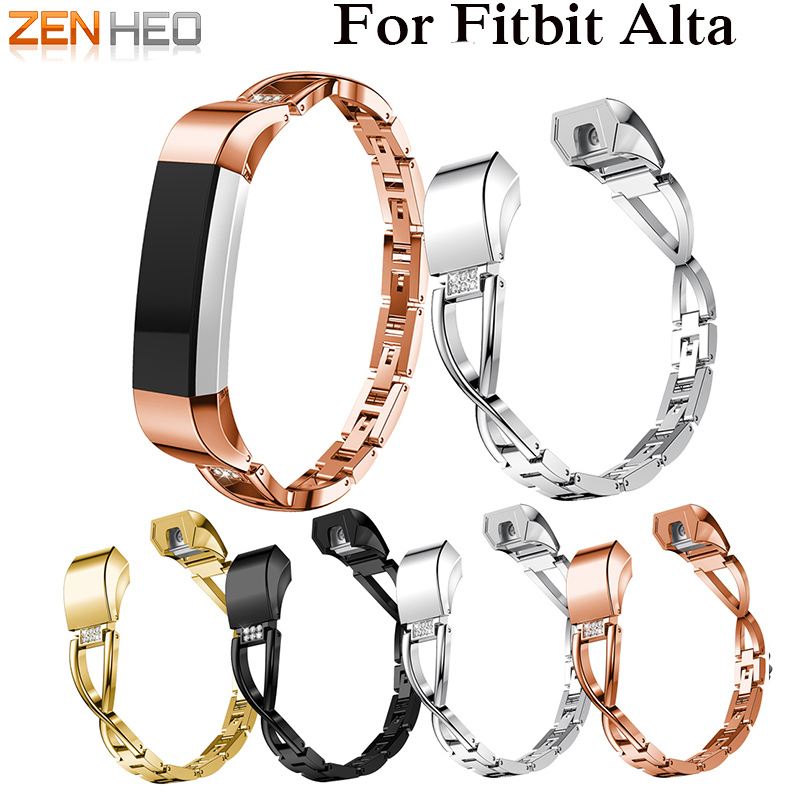 High Quality Replacement Alloy Crystal Rhinestone Wristband Band Strap Bracelet For Fitbit Alta/For Fitbit Alta HR Watch Band crested woven nylon strap for fitbit alta band alta hr replacement band survival bracelet wristband watchband strap fitbit alta