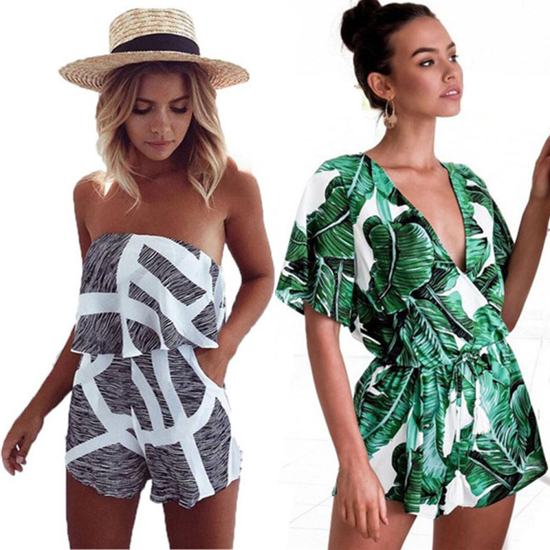 Wuhaobo Sexy Slash Neck Bohemian Playsuit Blomstertrykt Catsuit Off Shoulder Kvinde Jumpsuit 2017 Summer Bodysuits For Women