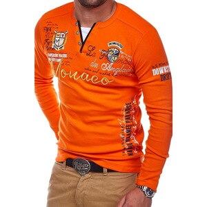 Image 5 - ZOGAA 2018 גברים פולו חולצה מזדמן כותנה מכתב הדפסת טי ארוך שרוול חולצה לגברים אופנת חולצות באיכות מוצק Polos חולצות