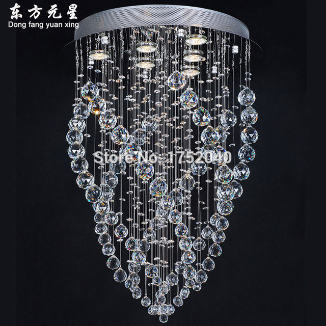 Crystal Chandelier Light Silver Lamp Base Hanging Lighting With Led Source Home Decoration Dia50