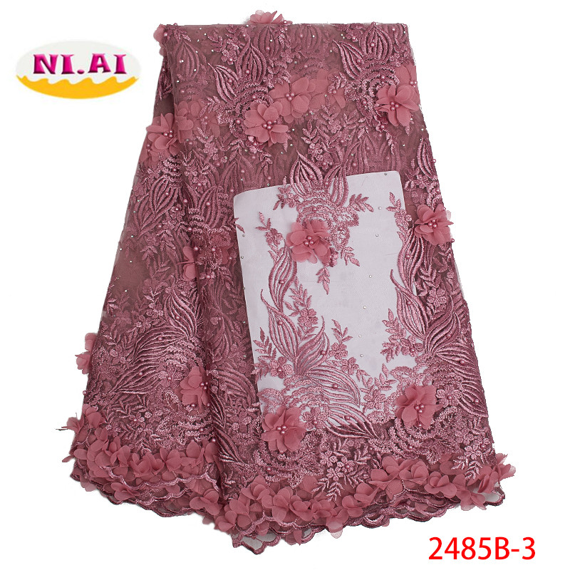 French 3D Flowers Latest African Beaded Lace Fabrics 2019 High Quality Lace Nigerian Net Lace Fabric