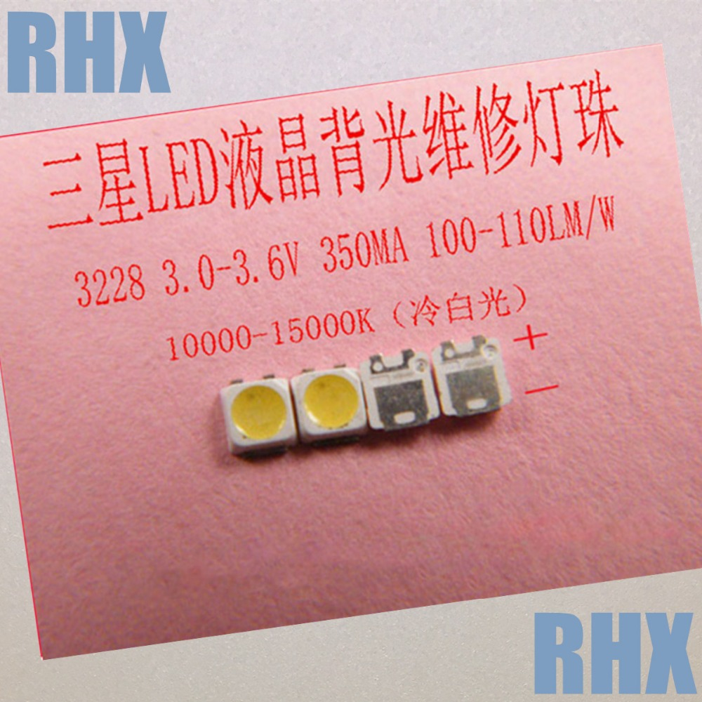 200piece/lot FOR Repair Samsung LCD TV LED Backlight Article Lamp SMD LEDs 3228  3V Cold White Light Emitting Diode