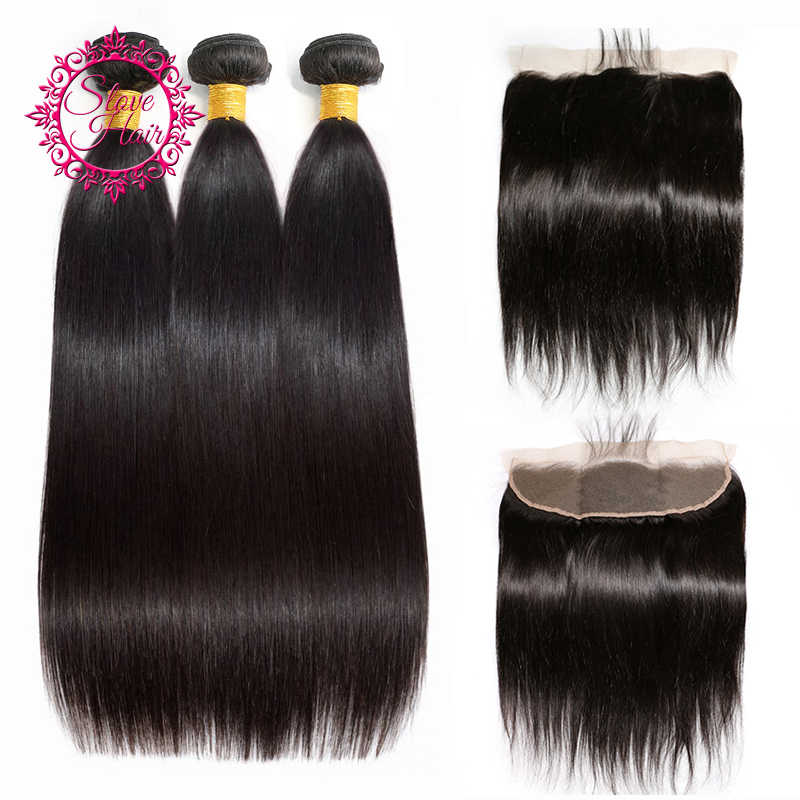Brazilian Hair Weave Bundles With Frontal Buy Non Remy Straight 3 Bundles Hair Extenison Get 13x4 Lace Frontal Closure Slove