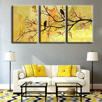 Birds Stand On The Tree Classical Simple Prints Painting 3 Panels Wall Art For Living Room