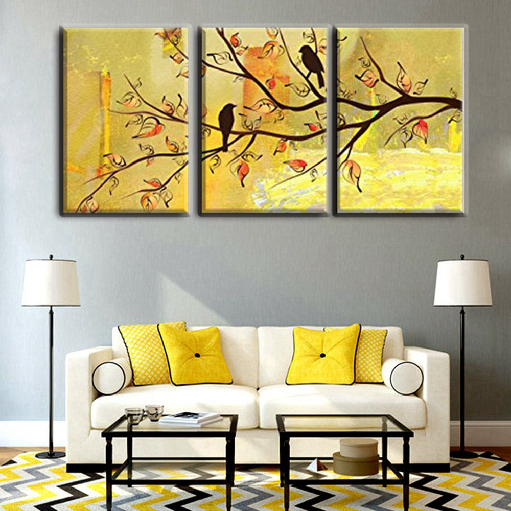 Birds Stand on the Tree Classical Simple Prints Painting 3 Panels ...