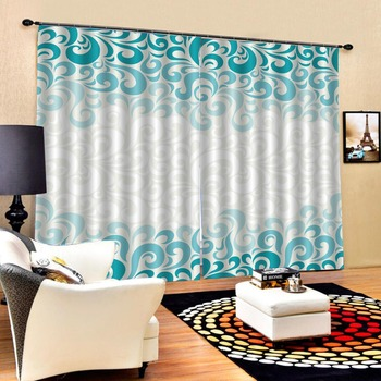 Luxury Blackout 3D Window Curtains For Living Room Bedroom Customized size green curtains parten curtain