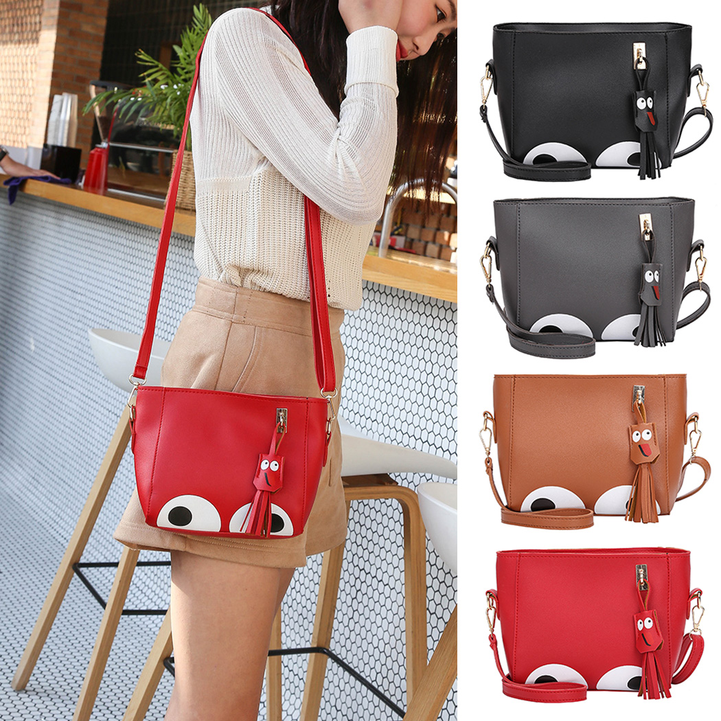 ddf63d38d4 2018 Cute Big Eye Cartoon Tassel Women Mini Shoulder Bags Female Messenger  Crossbody Bag For Girls Casual Leather Messenger Bag-in Top-Handle Bags  from ...