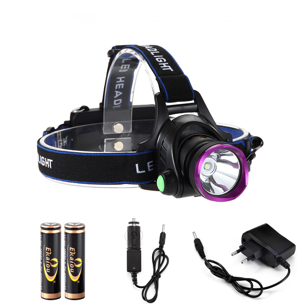 6000 Lumens XM-L XML T6 LED Headlamp Headlight Flashlight Head Head Light + 2 * 18650 batri + Charger + Charger Car