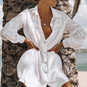 Simplee Sexy white beach cover up blouse shirt Summer tunics women Long sleeve swimsuit cover-ups tops Hollow out swimwear shirt(China)