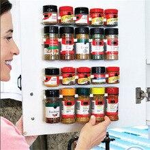4 lagen Kruidenrek Organizer Muur Kastdeur Opknoping Spice Jars Clip Haken Set Opslag Houder Grijper Keuken Accessoires