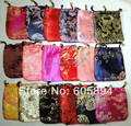 Satin Fabric Drawstring Jewelry Storage Pouches Mini Gift Bags Wholesale Packaging Cases 100pcs/lot mix color free shipping