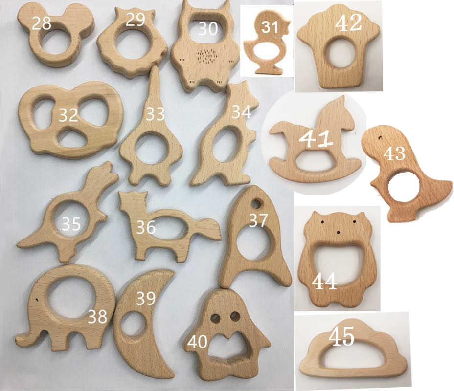 1 Pza/lote de mordedores artesanales de cuentas de madera Pescado de madera pájaro panda regalo de bebé accesorios pulsera/COLLAR COLGANTE de juguete