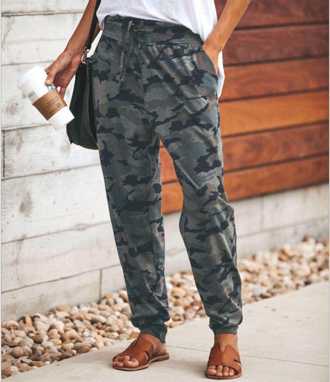 New Women Camo Cargo High Waist Hip Hop Trousers   Pants   Military Army Combat Camouflage Long   Pants   Hot   Capris   Plus Size 3XL 4XL