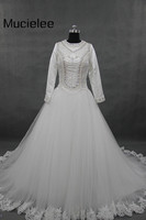 Vestido De Noiva Vintage Elegant Ball Gown Muslim Wedding Dress Real Photo Tulle Bling Long Sleeve
