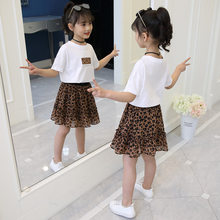 Girls Clothes 2019 Child Clothes Summer Set Toddler Outfits Kid Children T-shirt + Leopard Skirt 3 to 13 Years(China)