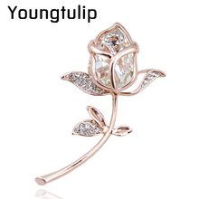 new arrival zircon rose brooch gold plated elegant brooches and pins 4 colors available cute fashion jewelry rhinestone brooches