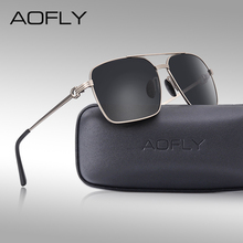 AOFLY Brand Design Classic Polarized Sunglasses Mens Driving Shades vintage Gold Square Frame Sun Glasses Male oculos de sol