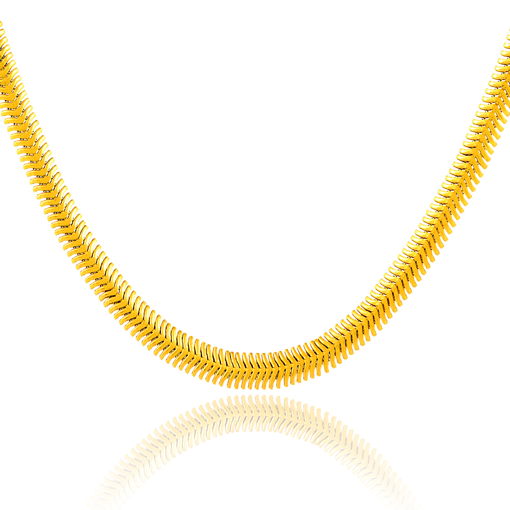 bead link necklaces craved yahaqiu necklace chains product pure from gold tube wholesale s yellow men silver chain heart pendants new