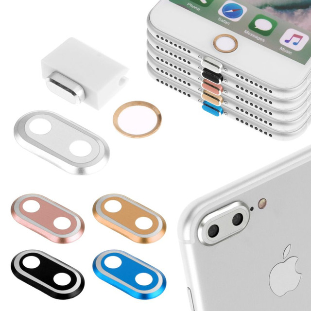 3 in 1 Rear Camera Guard Circle Metal Lens Protector + Home Button Ring + 8 Pin Anti Dust Plug For iPhone 7 8 Plus 7Plus 8Plus