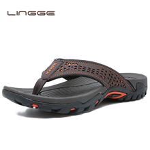 LINGGE Summer Sandals Male Beach Shoes Leather Sandals Dual use Leisure Flip flop Men Beach Sandals Man Fashion Casual Slipper цены