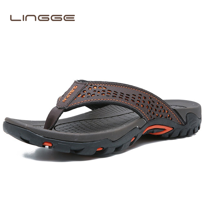 LINGGE Summer Sandals Male Beach Shoes Leather Sandals Dual use Leisure Flip flop Men Beach Sandals Man Fashion Casual Slipper