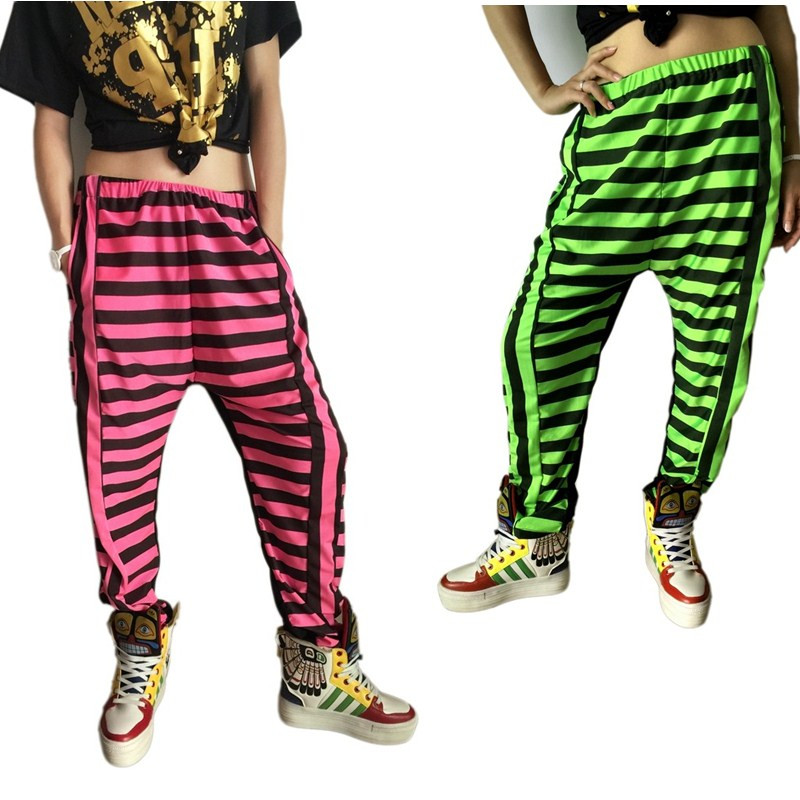 Yeni moda böyüklər uşaq kostyumları kostyumlar qadın geyimi neon patchwork zolaqlı caz ile bükülmüş Harem Hip Hop Rəqs şalvarları
