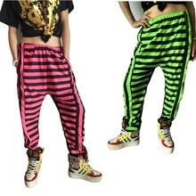 8c3e4e380498f Nueva moda niños adultos Pantalones de chándal desgaste femenino neón  patchwork Stripe spliced Jazz harem hip hop danza Pantalon.