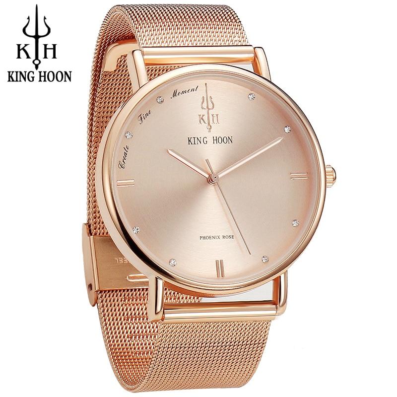 KÖNIG HOON Frauen Uhren Ultradünne Edelstahl Quarz armbanduhr Armband Strass uhr montre Femme clock uhr frauen