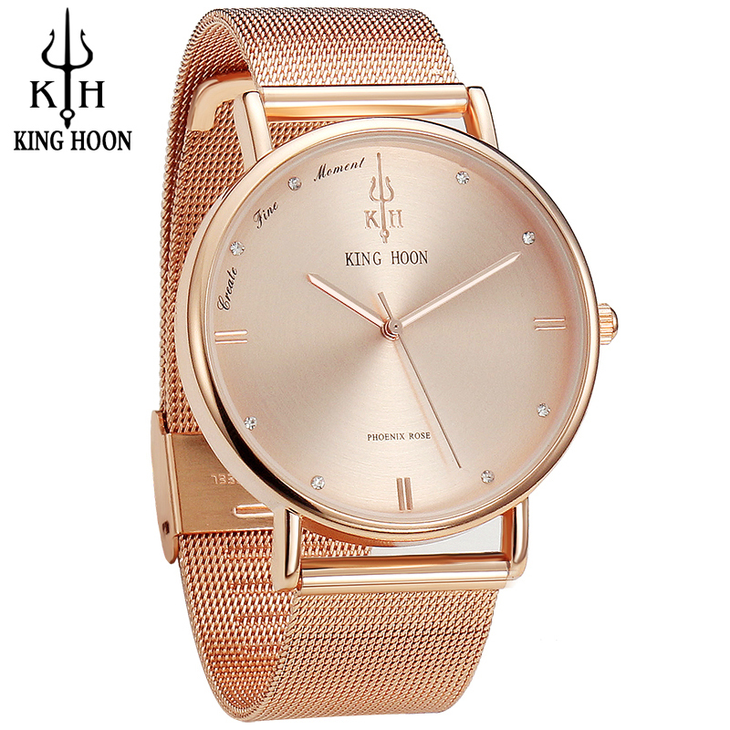 KING HOON Women Watches Ultra Thin Stainless Steel Quartz Wrist watch Bracelet Rhinestones watch montre Femme clock watch women