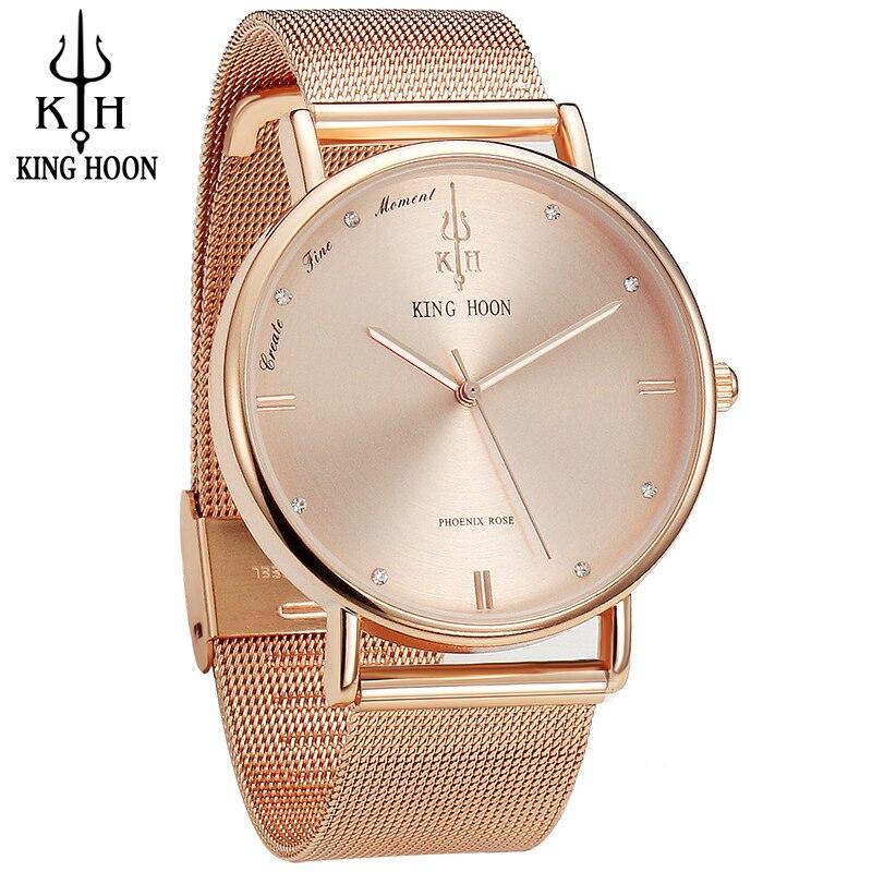 KING HOON Women Watches Ultra Thin Stainless Steel Quartz Wrist watch Bracelet Rhinestones watch montre Femme clock watch women