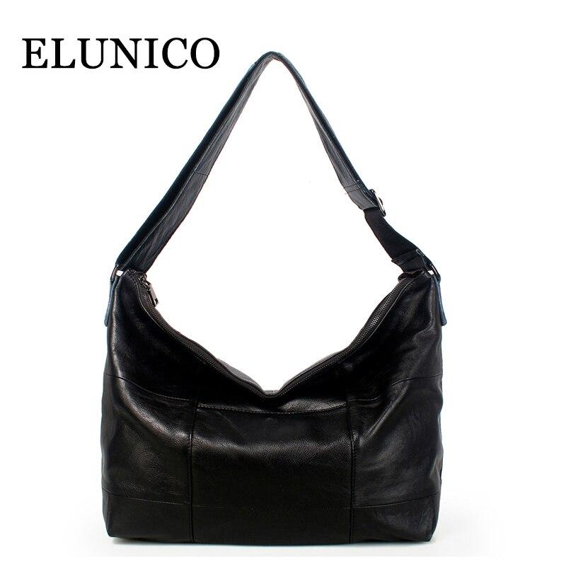 ELUNICO 2018 New Fashion Women's Genuine Leather Shoulder Bag Luxury Handbags Women Bags Designer Large Capacity Messenger Bag
