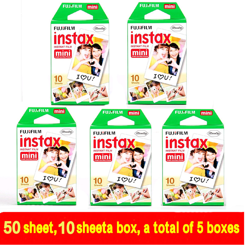 50 sheets Fujifilm Fuji Instax Mini 8 film for Fujifilm Instant Mini 7s 25 50s 90 Camera Fuji Instax White Edge Photo film Paper