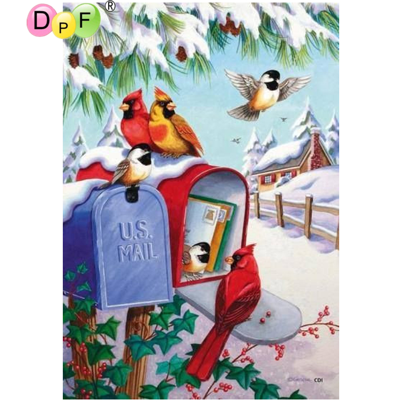DPF DIY Mail the bird 5D square crafts wall painting home decor diamond painting cross stitch diamond embroidery diamond mosaic