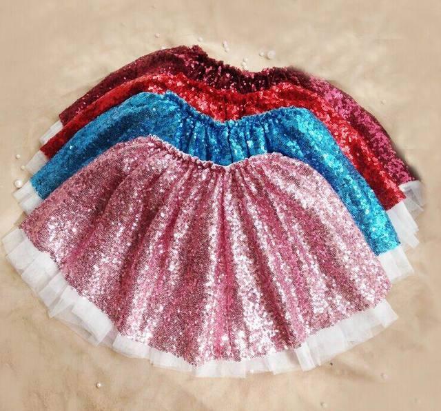 Girl Skirts 1534 Children Clothes Sequins Gauze Girl Fashion Skirts TUTU Skirts 2-6T