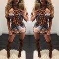 Mulheres de Impressão Digital de Sexy Hit Moda Bandagem V Pescoço Mulheres Tops Moda Casual Mulheres Camisa Curta