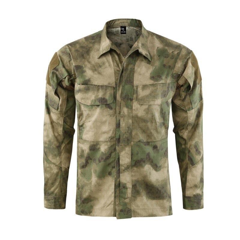 Полевая Боевая тренировочная тактическая рубашка Мужская Уличная походная клетчатая ткань износостойкая камуфляжная дышащая Военная Рубашка - Цвет: FG