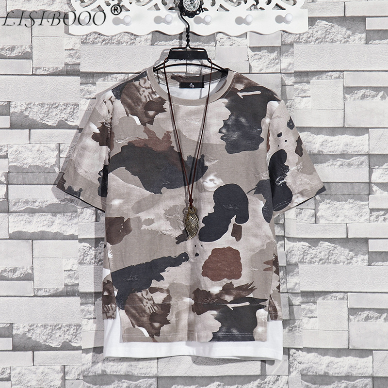 Summer New Fashion Retro Print Men T Shirt Camouflage Short-sleeved T-shirt Male Round Neck Loose Large Size T-shirt 1