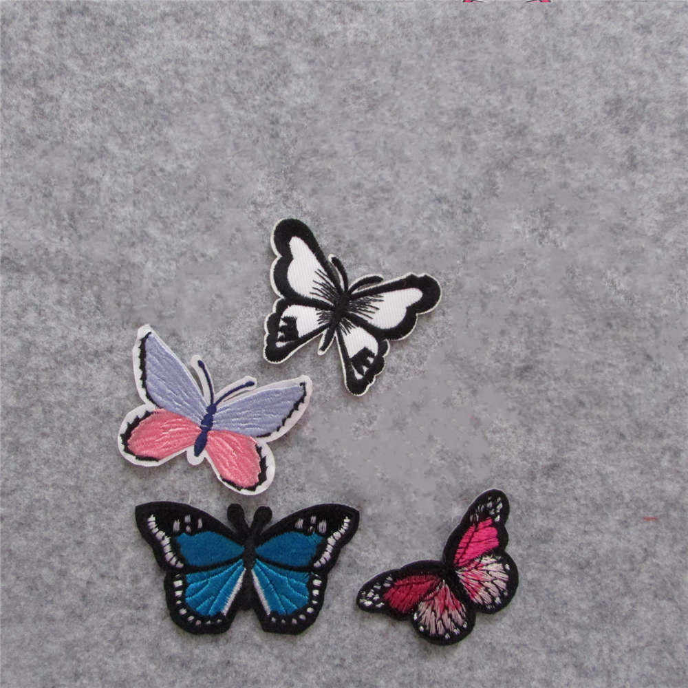 2016 year high quality butterfly fashion style hot melt adhesive applique embroidery patches stripes DIY clothing accessory