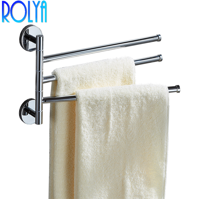 Rolya New Wholesale Promotion Solid Brass Swing Out Three Towel Bar Folding Arm Space Saving Wall Mount 3 Lever Towel BarsRolya New Wholesale Promotion Solid Brass Swing Out Three Towel Bar Folding Arm Space Saving Wall Mount 3 Lever Towel Bars